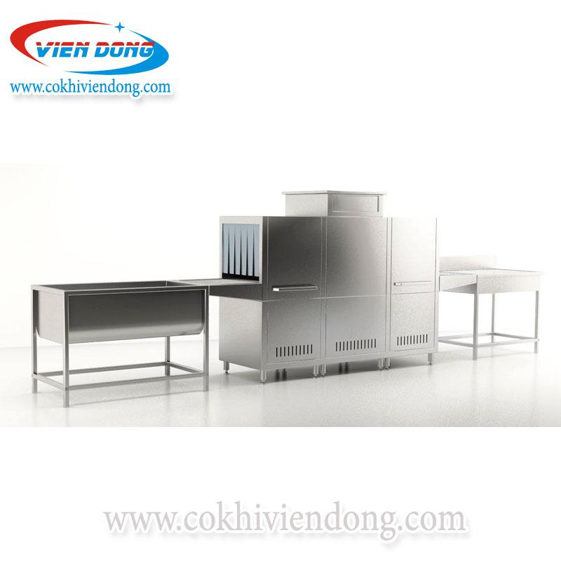 Máy rửa chén bát công nghiệp kèm bồn ngâm và bàn chứa