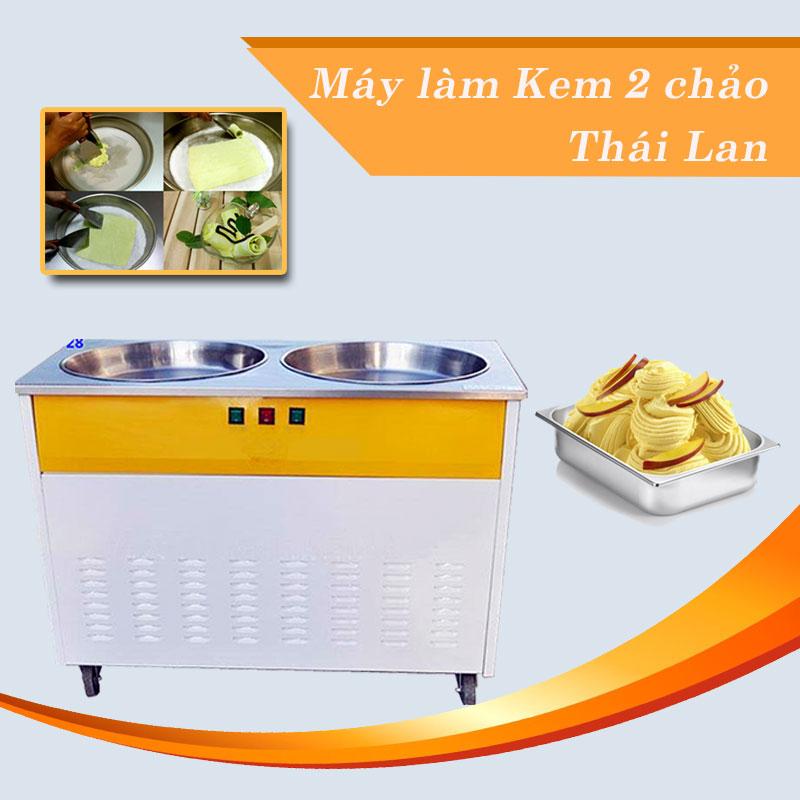 Máy làm kem cuộn 2 chảo Thái Lan