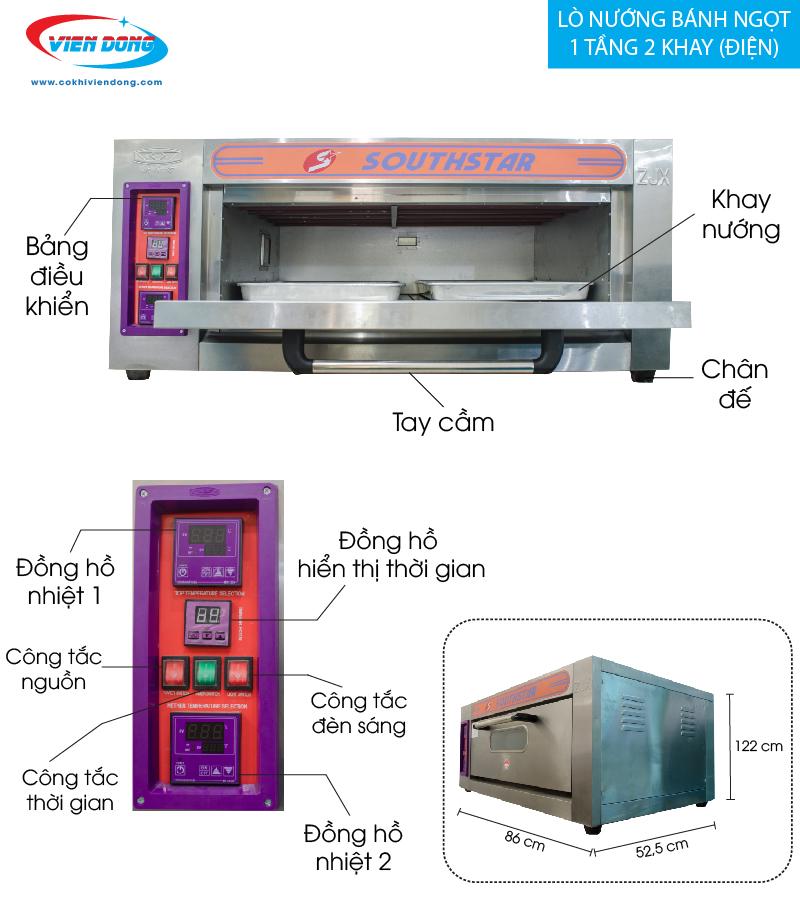lò nướng bánh ngọt 1 tầng 2 khay ( điện)-01