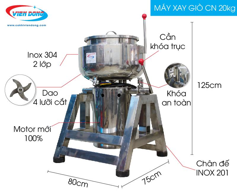 Cấu tạo máy xay giò chả 20kg
