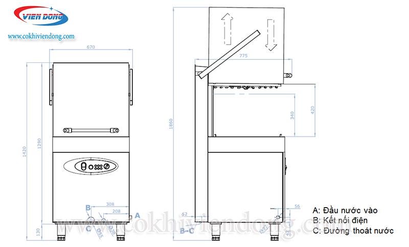 Bản vẽ chi tiết máy rửa bát cho nhà hàng cao cấp Ozti OBM 1080