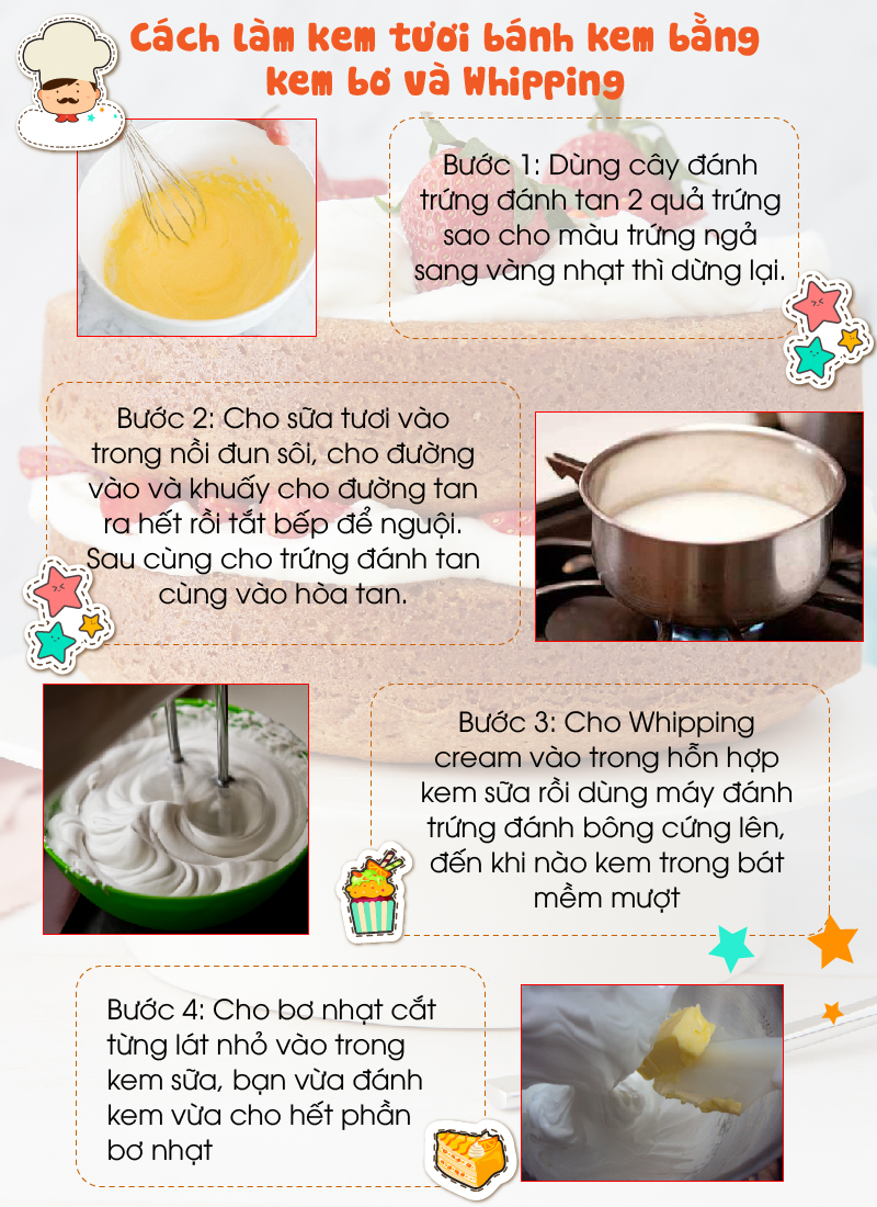 Cách làm kem tươi bánh kem bằng kem bơ và Whipping-01