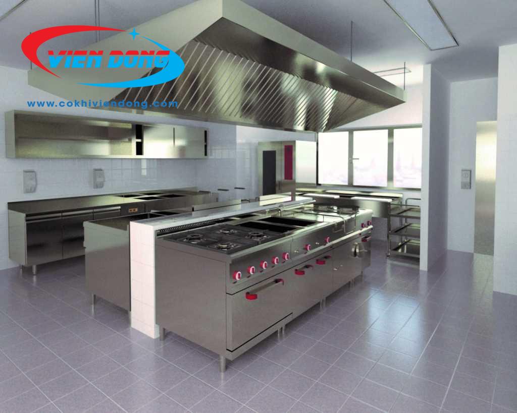 mẫu thiết kế 3D bếp nhà hàng