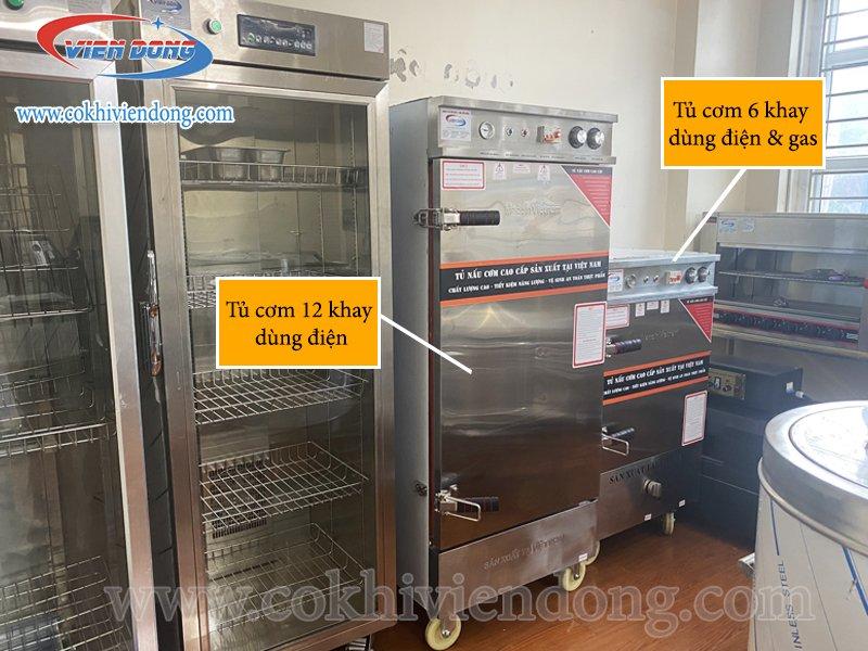 Tủ nấu cơm dùng điện và gas