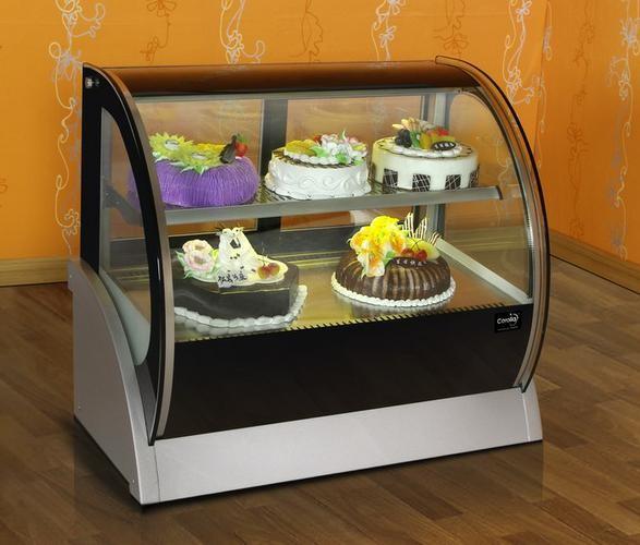 tủ trưng bày bánh kem kính cong 2 tầng